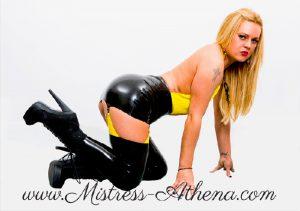 blonde goddess latex boots