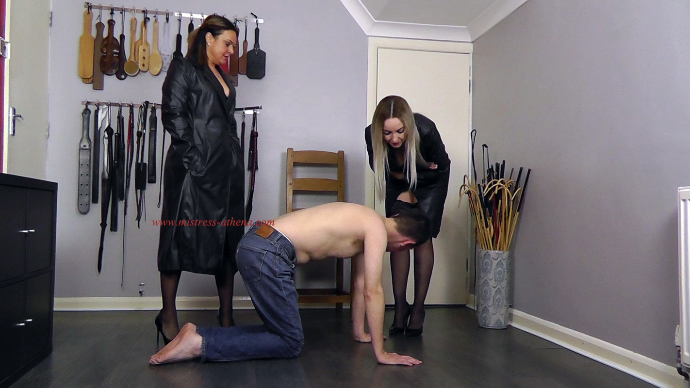 Double Domination Leather fetish Mistress Athena Huddersfield Filming